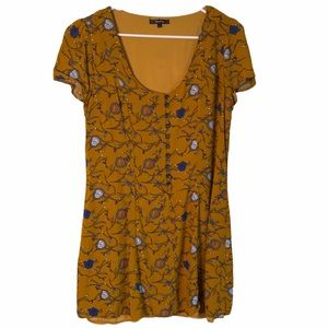 Roly Poly Floral Golden Mustard Dress Large
